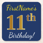[ Thumbnail: Blue, Faux Gold 11th Birthday + Custom Name Paper Coaster ]