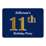 [ Thumbnail: Blue, Faux Gold 11th Birthday Party + Custom Name Invitation ]