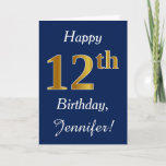 [ Thumbnail: Blue, Faux Gold 12th Birthday + Custom Name Card ]