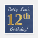 [ Thumbnail: Blue, Faux Gold 12th Birthday + Custom Name Paper Napkin ]