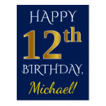 [ Thumbnail: Blue, Faux Gold 12th Birthday + Custom Name Postcard ]