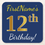 [ Thumbnail: Blue, Faux Gold 12th Birthday + Custom Name Paper Coaster ]