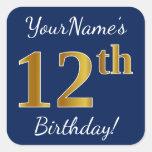 [ Thumbnail: Blue, Faux Gold 12th Birthday + Custom Name Sticker ]