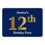 [ Thumbnail: Blue, Faux Gold 12th Birthday Party + Custom Name Invitation ]