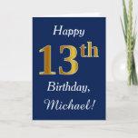 [ Thumbnail: Blue, Faux Gold 13th Birthday + Custom Name Card ]