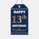 [ Thumbnail: Blue, Faux Gold 13th Birthday + Custom Name Gift Tags ]