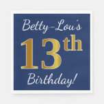 [ Thumbnail: Blue, Faux Gold 13th Birthday + Custom Name Napkin ]