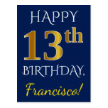[ Thumbnail: Blue, Faux Gold 13th Birthday + Custom Name Postcard ]