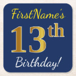 [ Thumbnail: Blue, Faux Gold 13th Birthday + Custom Name Paper Coaster ]