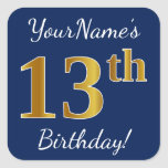 [ Thumbnail: Blue, Faux Gold 13th Birthday + Custom Name Sticker ]