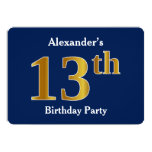 [ Thumbnail: Blue, Faux Gold 13th Birthday Party + Custom Name Invitation ]