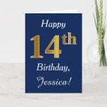 [ Thumbnail: Blue, Faux Gold 14th Birthday + Custom Name Card ]