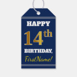 [ Thumbnail: Blue, Faux Gold 14th Birthday + Custom Name Gift Tags ]