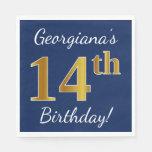 [ Thumbnail: Blue, Faux Gold 14th Birthday + Custom Name Paper Napkin ]