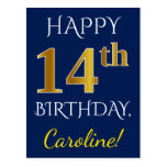 [ Thumbnail: Blue, Faux Gold 14th Birthday + Custom Name Postcard ]