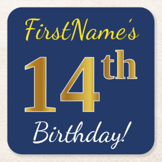 Blue, Faux Gold 14th Birthday + Custom Name Square Paper Coaster