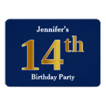 [ Thumbnail: Blue, Faux Gold 14th Birthday Party + Custom Name Invitation ]