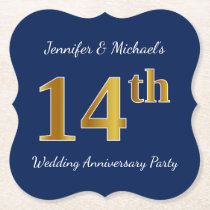 Blue, Faux Gold 14th Wedding Anniversary Party Paper Coaster