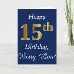 [ Thumbnail: Blue, Faux Gold 15th Birthday + Custom Name Card ]