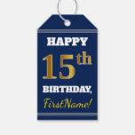 [ Thumbnail: Blue, Faux Gold 15th Birthday + Custom Name Gift Tags ]