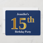 [ Thumbnail: Blue, Faux Gold 15th Birthday Party + Custom Name Invitation ]