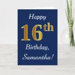 [ Thumbnail: Blue, Faux Gold 16th Birthday + Custom Name Card ]