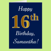 Blue, Faux Gold 16th Birthday   Custom Name Card