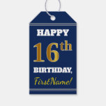 [ Thumbnail: Blue, Faux Gold 16th Birthday + Custom Name Gift Tags ]