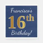 [ Thumbnail: Blue, Faux Gold 16th Birthday + Custom Name Paper Napkin ]