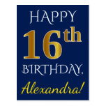 [ Thumbnail: Blue, Faux Gold 16th Birthday + Custom Name Postcard ]