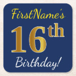 [ Thumbnail: Blue, Faux Gold 16th Birthday + Custom Name Paper Coaster ]