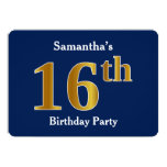 [ Thumbnail: Blue, Faux Gold 16th Birthday Party + Custom Name Invitation ]