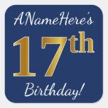 [ Thumbnail: Blue, Faux Gold 17th Birthday + Custom Name Sticker ]