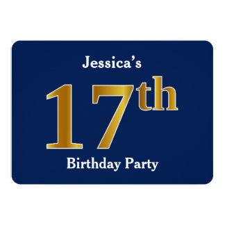 Blue, Faux Gold 17th Birthday Party + Custom Name Card