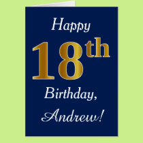 Blue, Faux Gold 18th Birthday   Custom Name Card