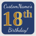 [ Thumbnail: Blue, Faux Gold 18th Birthday + Custom Name Sticker ]