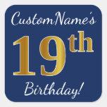 [ Thumbnail: Blue, Faux Gold 19th Birthday + Custom Name Sticker ]