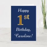 [ Thumbnail: Blue, Faux Gold 1st Birthday + Custom Name Card ]