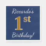 [ Thumbnail: Blue, Faux Gold 1st Birthday + Custom Name Paper Napkin ]