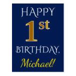 [ Thumbnail: Blue, Faux Gold 1st Birthday + Custom Name Postcard ]