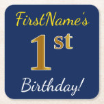 [ Thumbnail: Blue, Faux Gold 1st Birthday + Custom Name Paper Coaster ]