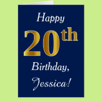 Blue, Faux Gold 20th Birthday   Custom Name Card
