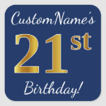 [ Thumbnail: Blue, Faux Gold 21st Birthday + Custom Name Sticker ]