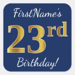 [ Thumbnail: Blue, Faux Gold 23rd Birthday + Custom Name Sticker ]