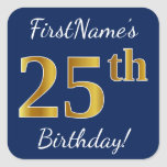 [ Thumbnail: Blue, Faux Gold 25th Birthday + Custom Name Sticker ]