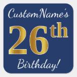 [ Thumbnail: Blue, Faux Gold 26th Birthday + Custom Name Sticker ]