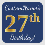 [ Thumbnail: Blue, Faux Gold 27th Birthday + Custom Name Sticker ]