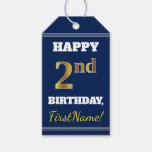 [ Thumbnail: Blue, Faux Gold 2nd Birthday + Custom Name Gift Tags ]