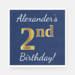 [ Thumbnail: Blue, Faux Gold 2nd Birthday + Custom Name Paper Napkin ]
