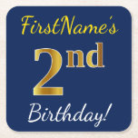 [ Thumbnail: Blue, Faux Gold 2nd Birthday + Custom Name Paper Coaster ]